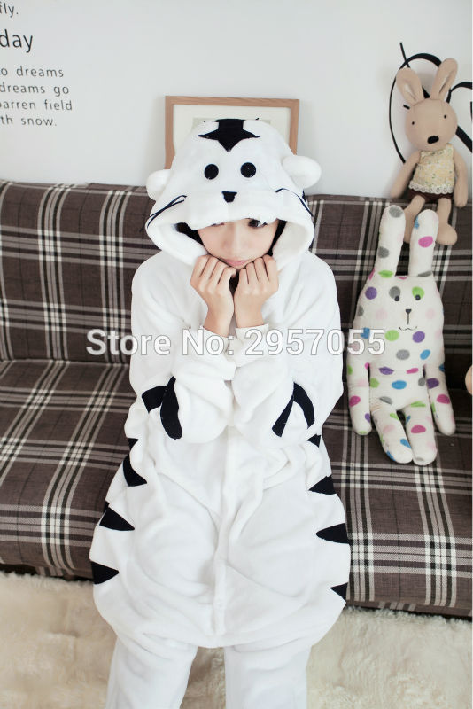 New Unisex Adult Flannel Pajamas Animal Pyjama Suits Cosplay Adult Winter Garment Cute Cartoon Animal Pajama White Tiger