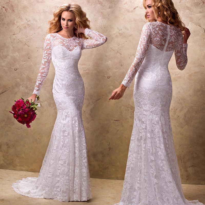 2015 Designer Wedding Gowns: New Design Sheath Lace Wedding 2015 Bridal Dress Long