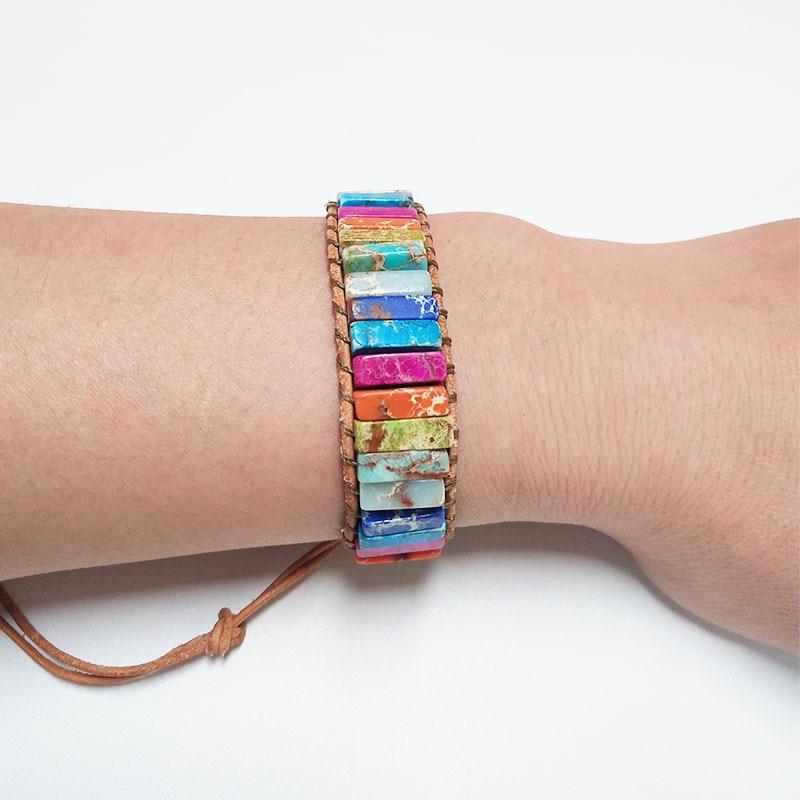 Chakra Bracelet Boho Natural Stone Wrap Bracelet Dropshipping Leather Wrap Bracelet 7 Chakra Bracelets bracelet