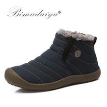 8e2bd10c9223f BIMUDUIYU imperméable hommes bottes d hiver couleur unie tissu sans lacet  bottines garder au chaud fourrure mode bottes de neige.