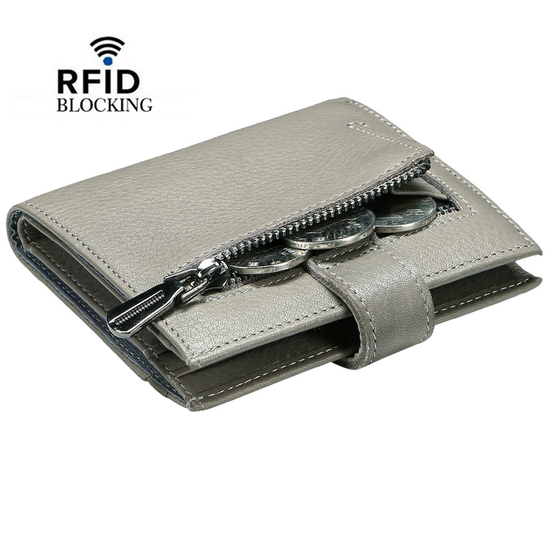 100% New RFID Blocking Women's soft Genuine Leather Short Wallet Back Zipper Coin Pocket with ID Window female purse with snap