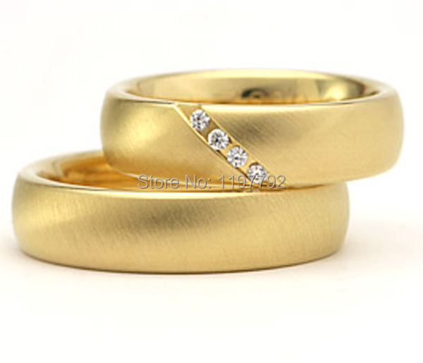 top quality custom made his and hers yellow gold color health titanium wedding rings sets for
