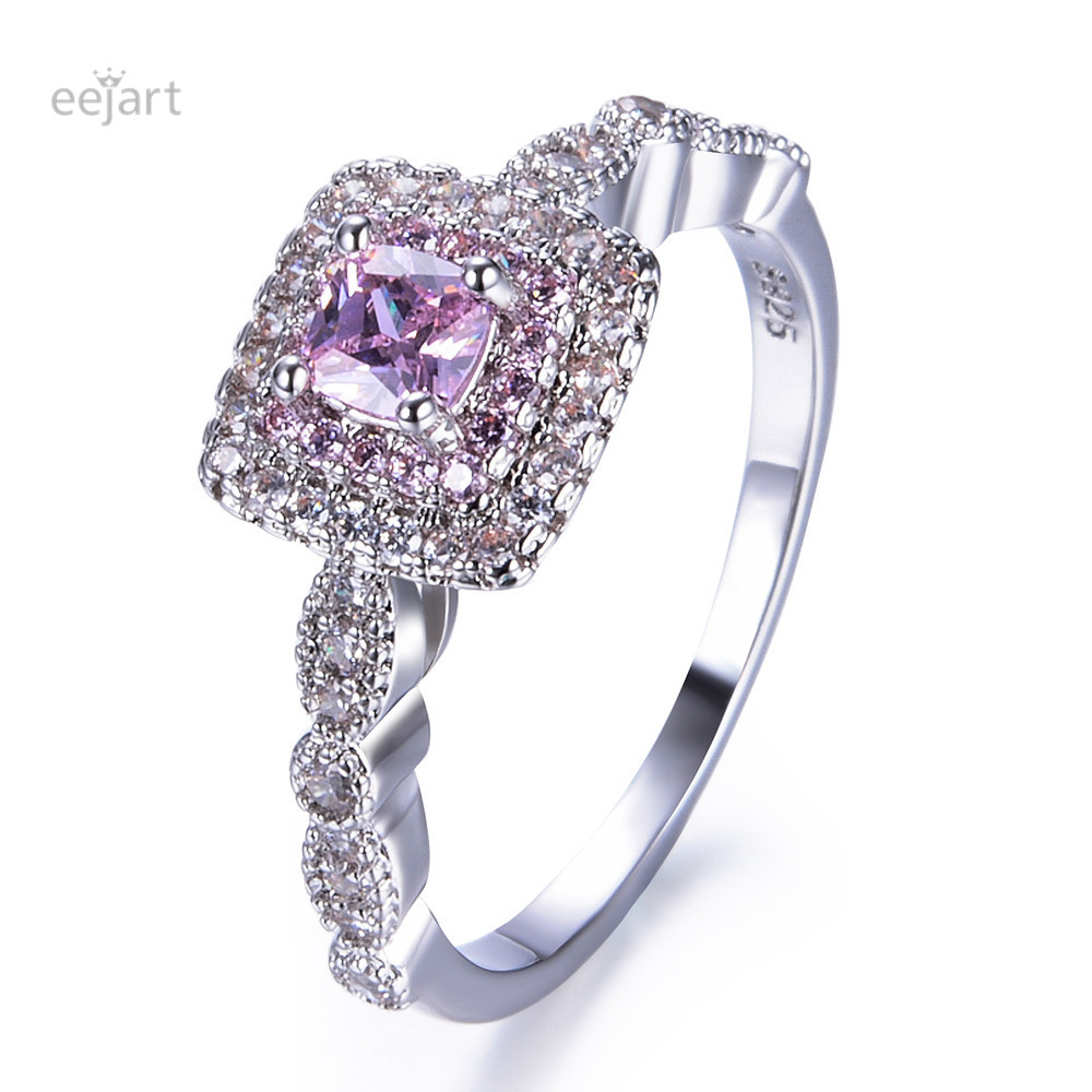 Eejart Silver Color Classic Pink Crystal Bijoux Fashion Cocktail Engagement Ring Cubic Zirconia Jewelry For Women As Love Gift