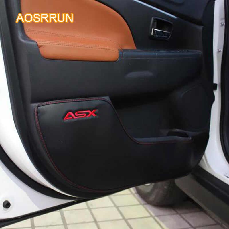 AOSRRUN หนังแท้ประตูประตูประตูขอบป้องกันเบาะรถอุปกรณ์เสริมสำหรับ MITSUBISHI ASX 2018 4/ pcs