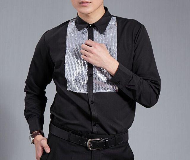 Envío gratis hombres de manga larga negro color de la camisa del smoking plata de las lentejuelas decoración esmoquin camisa