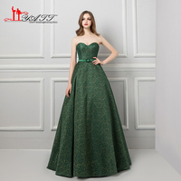 LIYATT 2018 Spring Dark Green Belt Sweetheart Cheap Court Train Custom Made Arabic Vintage Evening Prom Dresses Women Party Gown