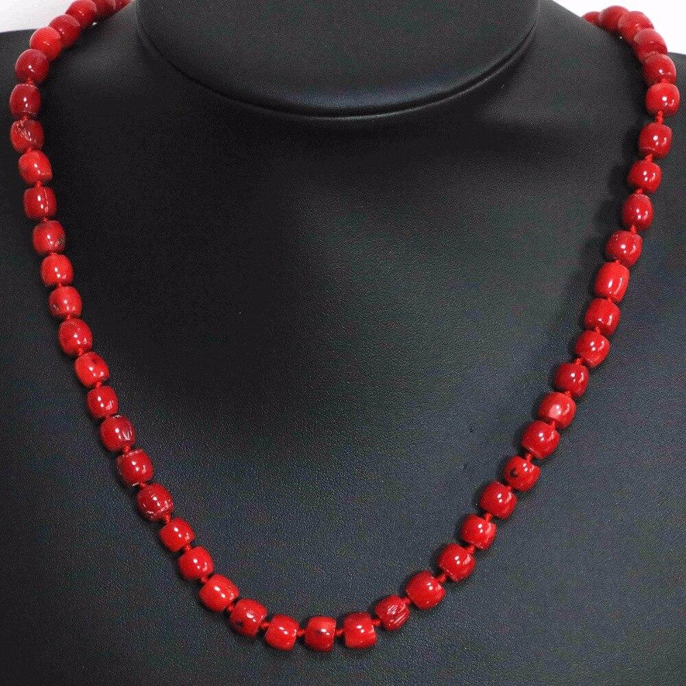 Natural red coral irregular tube barrel beads choker 8x11mm 11x15mm high grade fashion women chain necklace 20inch B1503