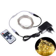 Жарықдиодты шамдар 5M10M Ашық Рождество Fairy Lights Warm White Күміс Wire LED Starry Lights DC 12V Wedding Decoration