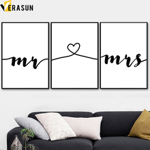 Nordic Minimalism Mrs Mr Love Story Wall Art Canvas Painting Posters And Prints Black White Pictures For Living Room Decor