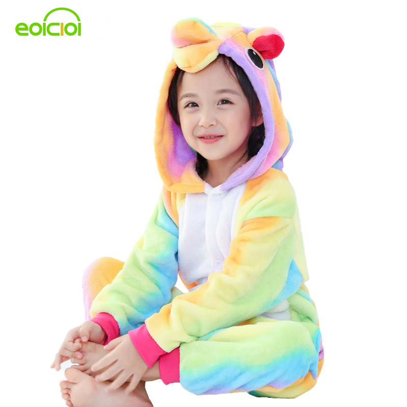 EOICIOI Animal Unicorn Stitch Pegasus Pikachu Pajamas Flannel Hooded Kids Sleepwear Cartoon Cosplay Children Pajamas Onesies