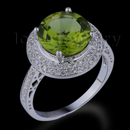 Meilleure vente diamant bijoux solide 14Kt or blanc cristal péridot bague de mariage ronde 10mm WR0015