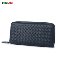 GINIANI Super Soft Leather High Quality Classic Weaved Long Wallet Famous Brand Designer Women Woven Standard Coin Purses