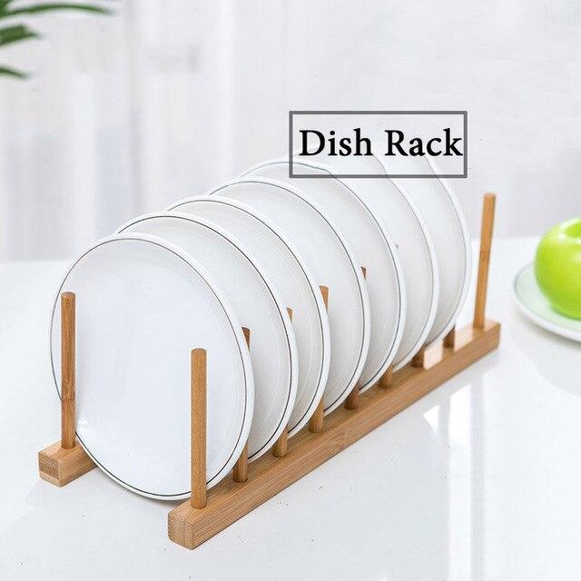 3/6 Layer Bamboo Dish Rack Kitchen Organizer Drying Rack Drainer Storage Holder Kitchen Accessories Organizer Dish Drainer Shelf