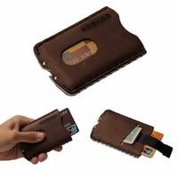 ZEEKER Men's Wallets slim Front Pocket RFID Blocking Card Holder Minimalist Mini Handmade Genuine Leather Wallet