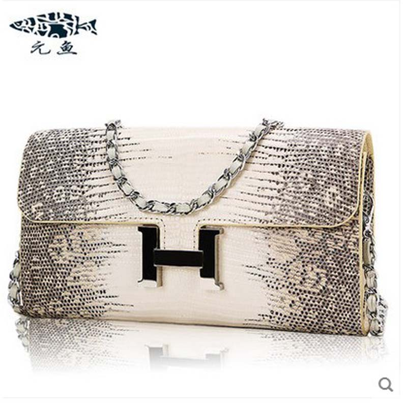 yuanyu 2018 new  lizard skin leather women handbag single shoulder bag envelope bag inclined one shoulder bag chain bag lady yuanyu real snake skin women bag new decorative pattern women chain bag fashion inclined single shoulder women bag