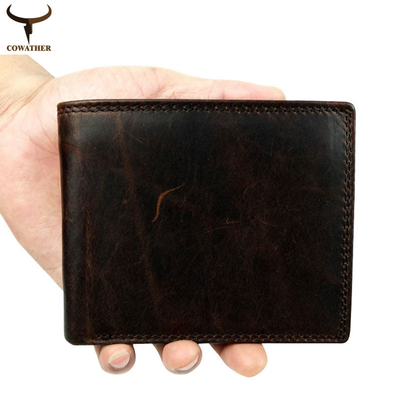 COWATHER 2017 top layer Crazy horse leather male purse cow vintage wallets simple luxury men carteira masculina free shipping cowather top quality crazy horse leather mens wallet for men 2017 new design vertical style coffee black purse 114free shipping