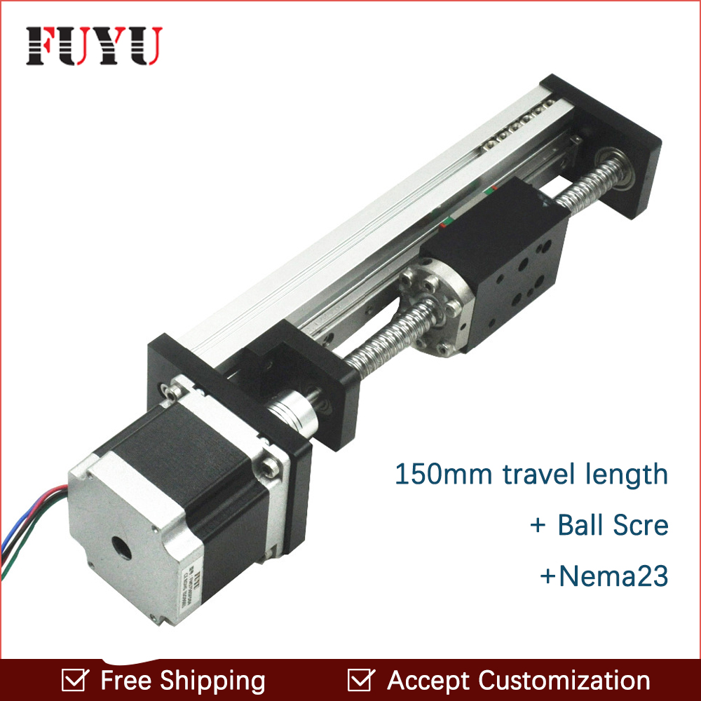 Free Shipping oem low price 40mm wide 150mm length linear guide rail with motor and ball screw for cnc ce iso under 6cm wide and length unlimited little fish killer machine with cfr price shipping by sea