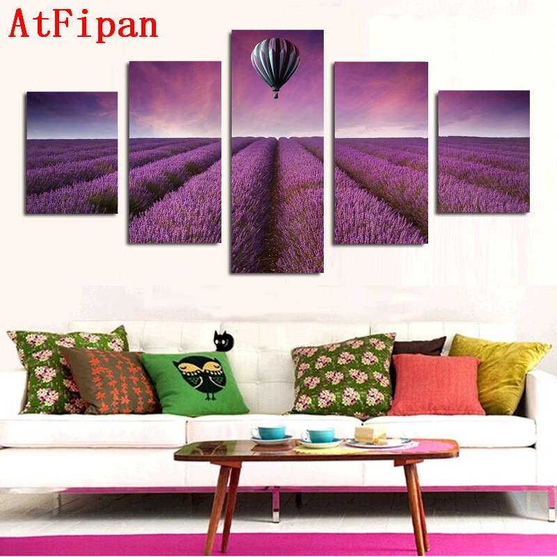 AtFipan Lavender Hot Air Balloon Canvas Painting 5 Panel