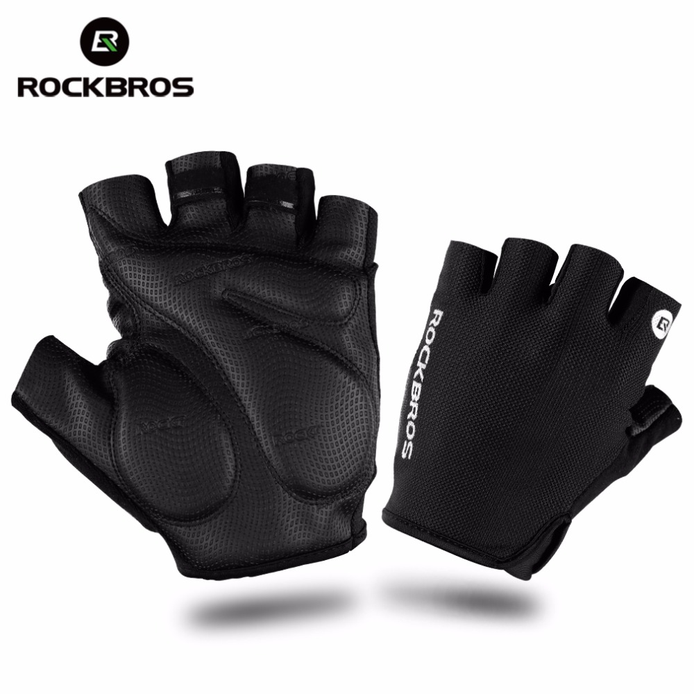 Fingerless gloves climbing - Rockbros Hiking Gloves Half Finger Camping Climbing Tactical Gloves Shockproof Breathable Mtb Bike Bicycle Gloves For