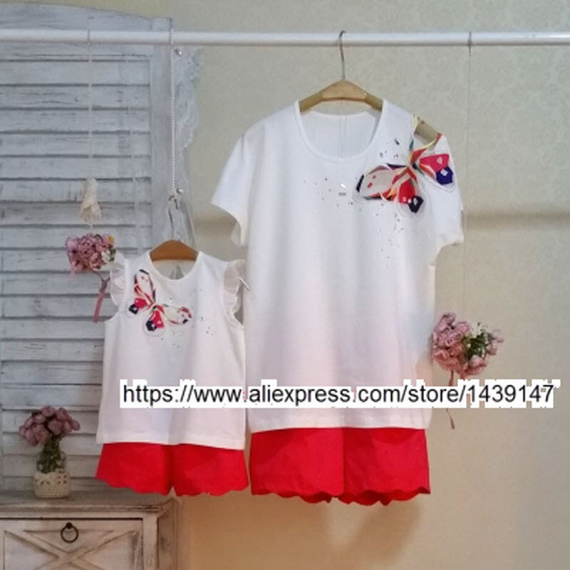 Children clothing Mother and Daughter Butterfly rhinestones , 2-10 years old Child baby Girl clothes , Women plus Large size 4XL children clothing mother and daughter dress red printing 2 10 years old child little baby girls clothes women large size 4xl