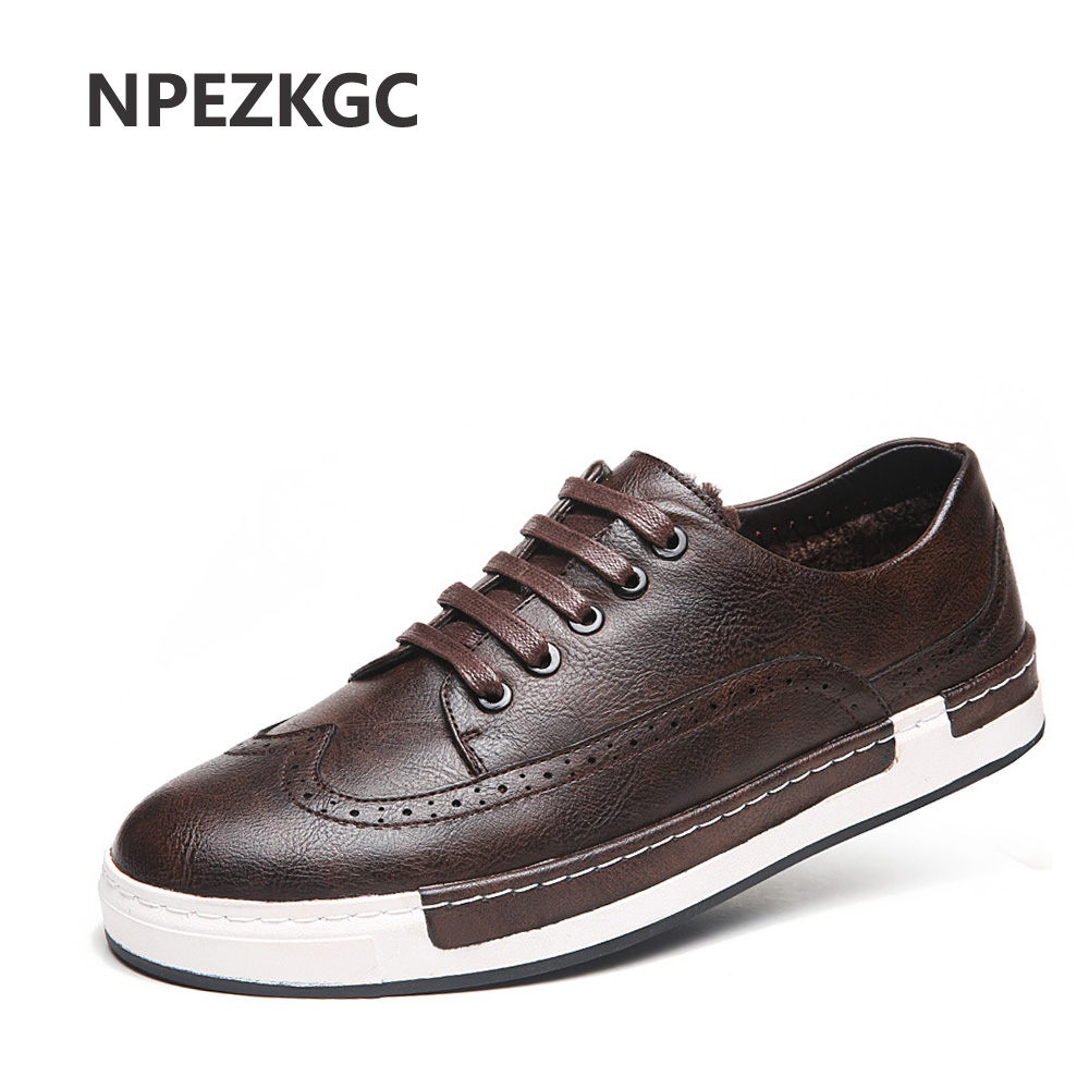 NPEZKGC Brand Sping Winter Men Shoes Fashion Wool Lining PU Leather Warm Shoes Men Flats Loafers Plus Velvet Casual Shoes