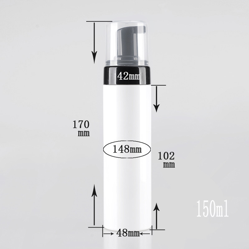100ps Empty 150ml Plastic Facial Cleanser white matt Clear liquid Soap Dispenser best cheapest Foam bottle 6ps lot empty 60ml cosmetic facial cleanser wash cream plastic pet white liquid soap foam bottle with golden foamer pump