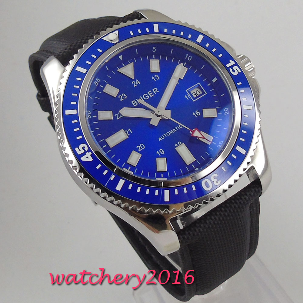NEW 44mm Bliger Blue Dial Rotating Bleze Date Window Stainless steel Case Leather strap LUME Automatic Movement mens WatchNEW 44mm Bliger Blue Dial Rotating Bleze Date Window Stainless steel Case Leather strap LUME Automatic Movement mens Watch