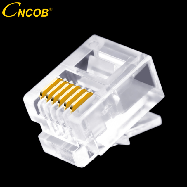 cncob 100pcs cat3 rj11 6p6c modular plug 6-wire voice telephone line  connector, rj12 cnc crystal head, 6-core copper chip