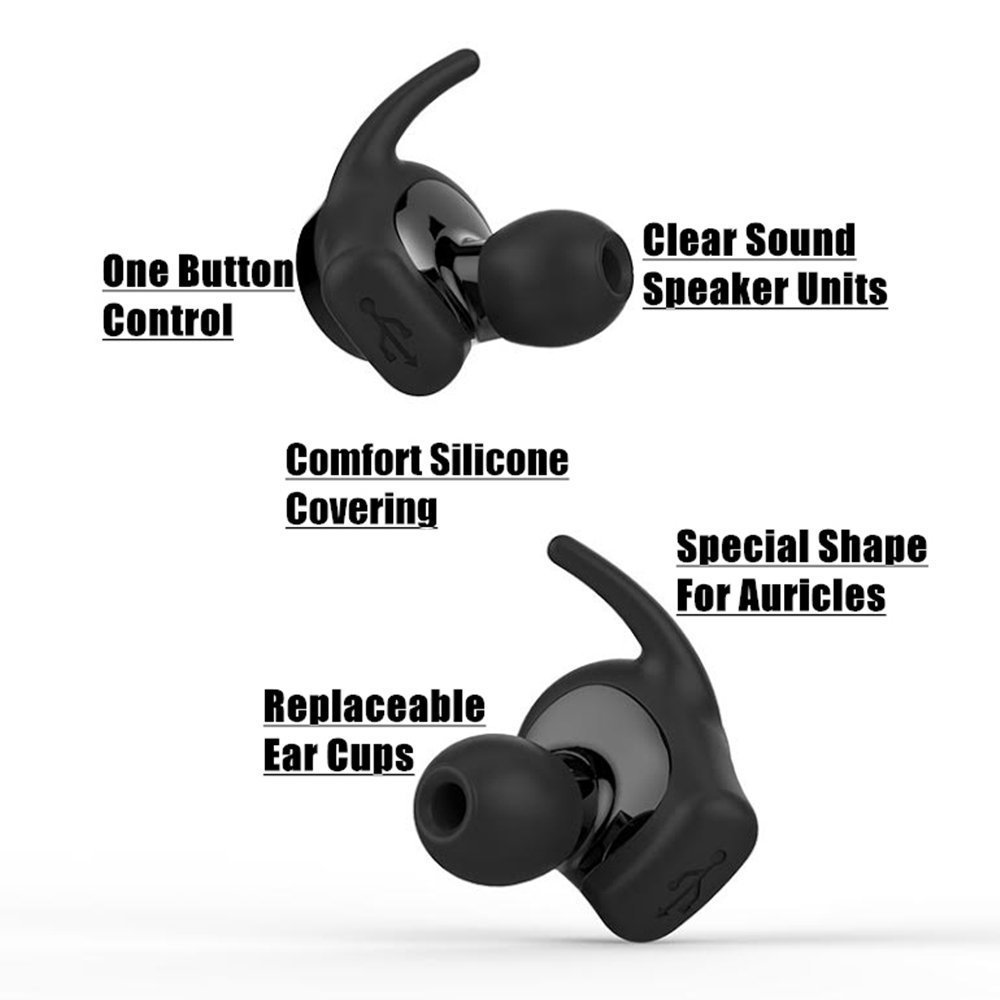 SAGO True Wireless Bluetooth Earbuds US-001 Sport Earphone In-Ear Noise Cancelling Headset with BT 4.2 and Stereo Surround Sound