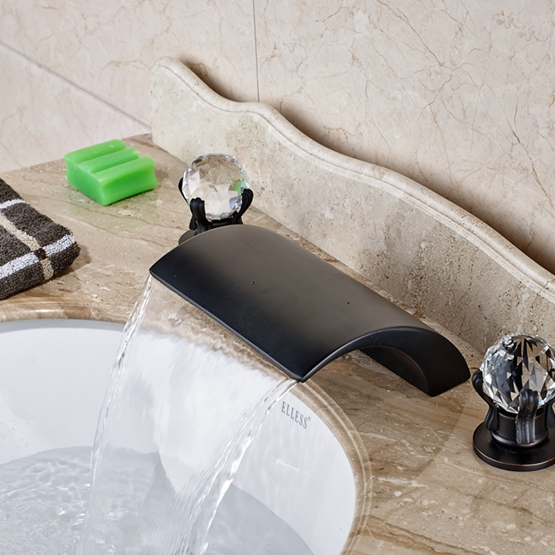 Oil Rubbed Bronze Roman Waterfall Bathroom Basin Faucet Crystal Handles Mixer wholesale and retail contemporary oil rubbed bronze led waterfall