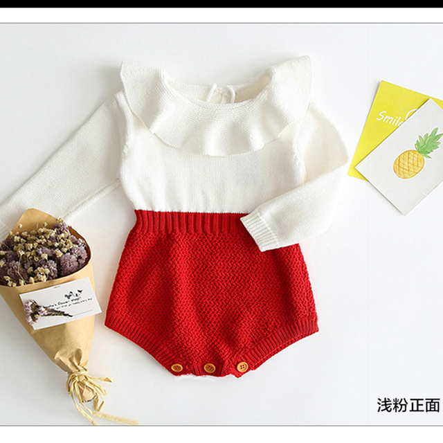 Pudcoco infant Newborn Baby Girl Wool Blend Baby Romper autumn winter Warm Knit Sweater Long Sleeve Rompers baby girl clothes 2