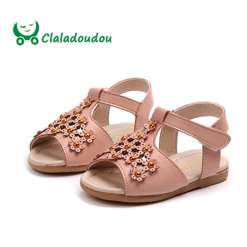 Claladoudou 12-15.5CM 2019 Princess Sandals Flower Newborn Girl Shoes Beige Pink Toddler Dress Shoes Infant Walking Shoes 0-3Y