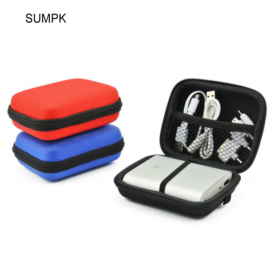 SUMPK 105x80x45mm Xiao-mi Mobile Power Bank Estuches de almacenamiento Colorido EVA Zipper Hard Case para 10400mAh Power Bank Pouch Bags