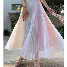 цена 2019 Women TUTU High Waist Mesh Midi Pleated Gauze Sequin Elegant Skirt Female High Street Fashion Gradient Rainbow Skirt в интернет-магазинах