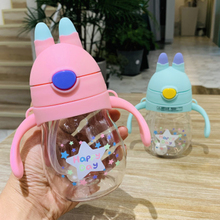 Cute Creative Baby Learn Feeding Drink Water Cartoon Bottle Straw Portable Handle Bottle Baby Food Cup Drinkware 320ml baby feeding water bottle portable no spill cup my plastic bottle children s small kettle with straw food grade slide cover copo