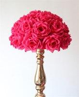 SPR 55cm*2pcs/lot plum/fuschia Hanging Flower Ball Centerpieces Silk Rose Wedding Kissing Ball Pomanders Mint Decoration Ball