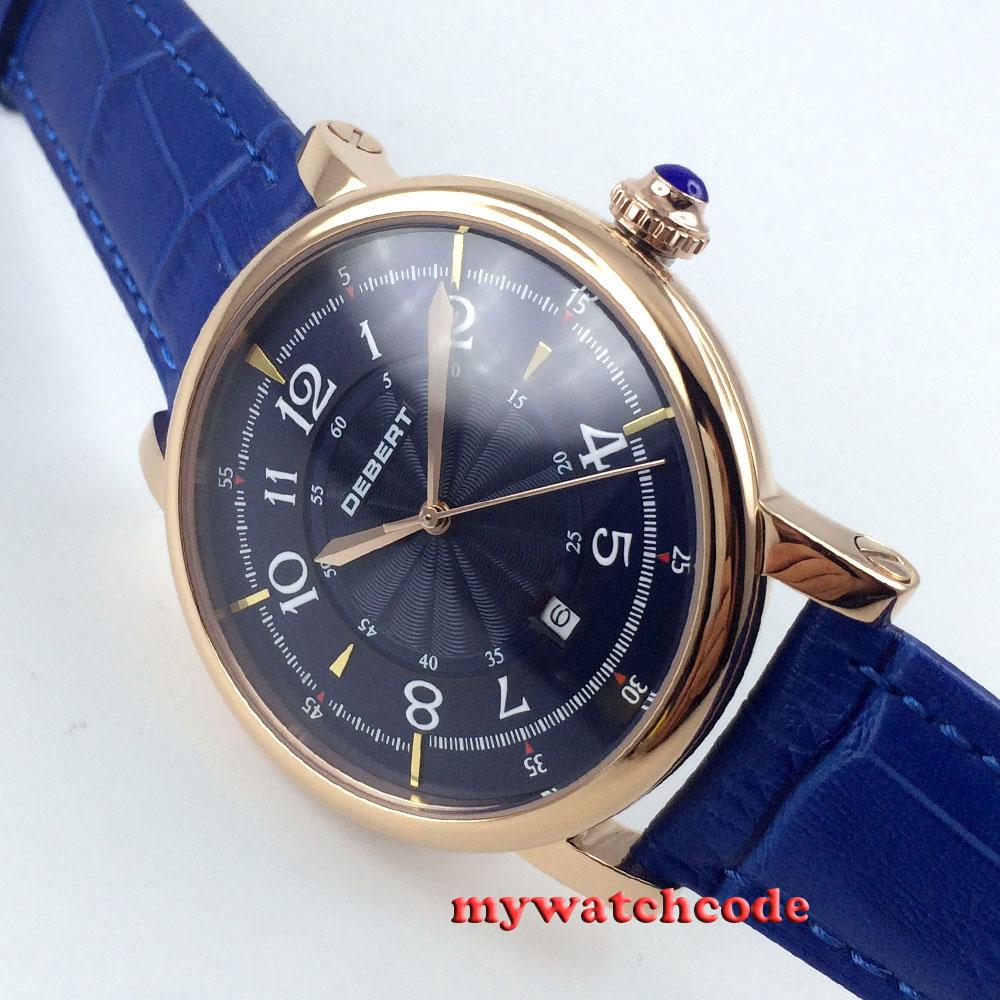 43mm debert blue dial rose golden case 21 jewels diving Automatic mens Watch D9 цена и фото