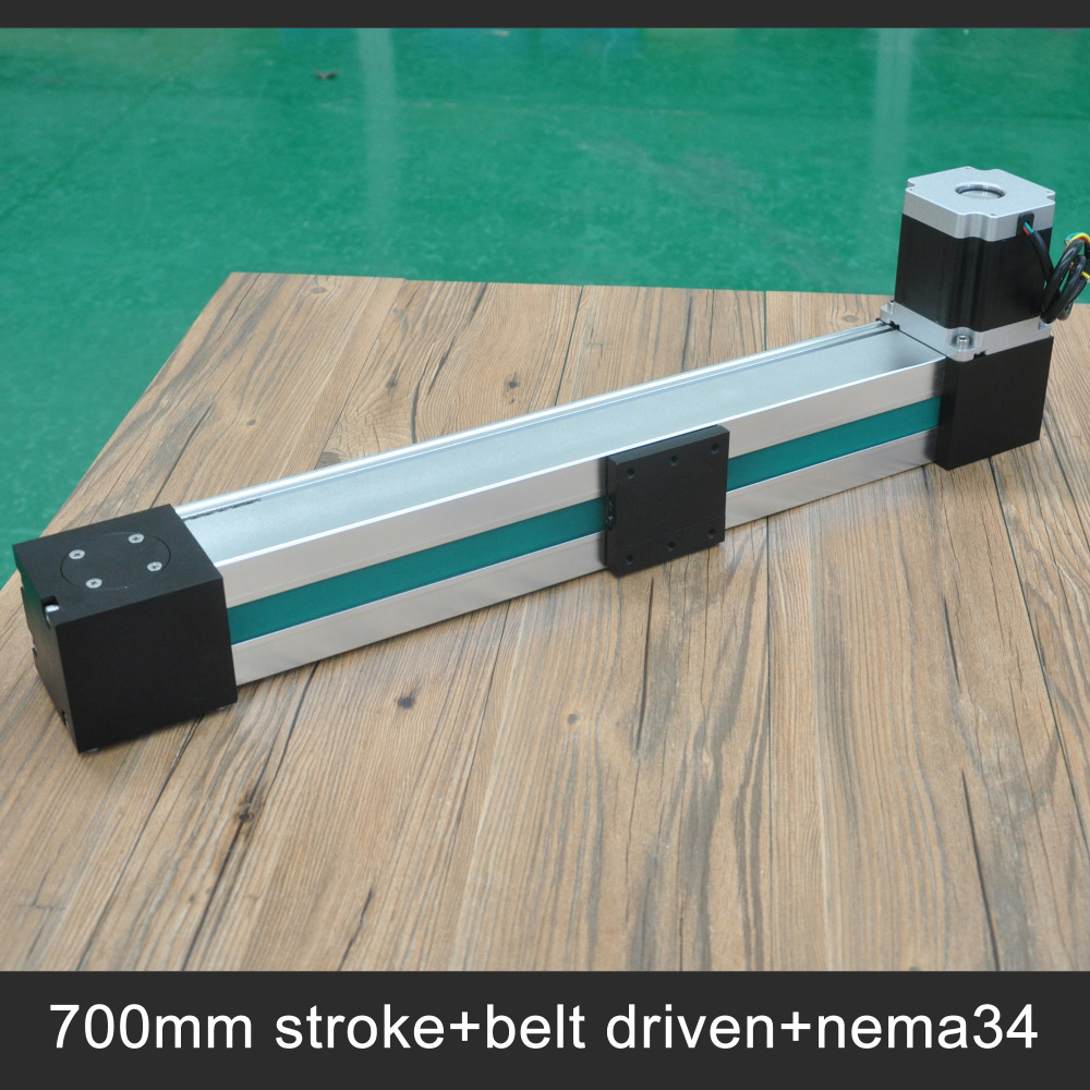 Free shipping 700mm stroke belt drive linear guide slide table Nema34 motor for cnc fast movement system belt driven linear slide price uk high strength motorized linear stage stepping motor drive servo drive