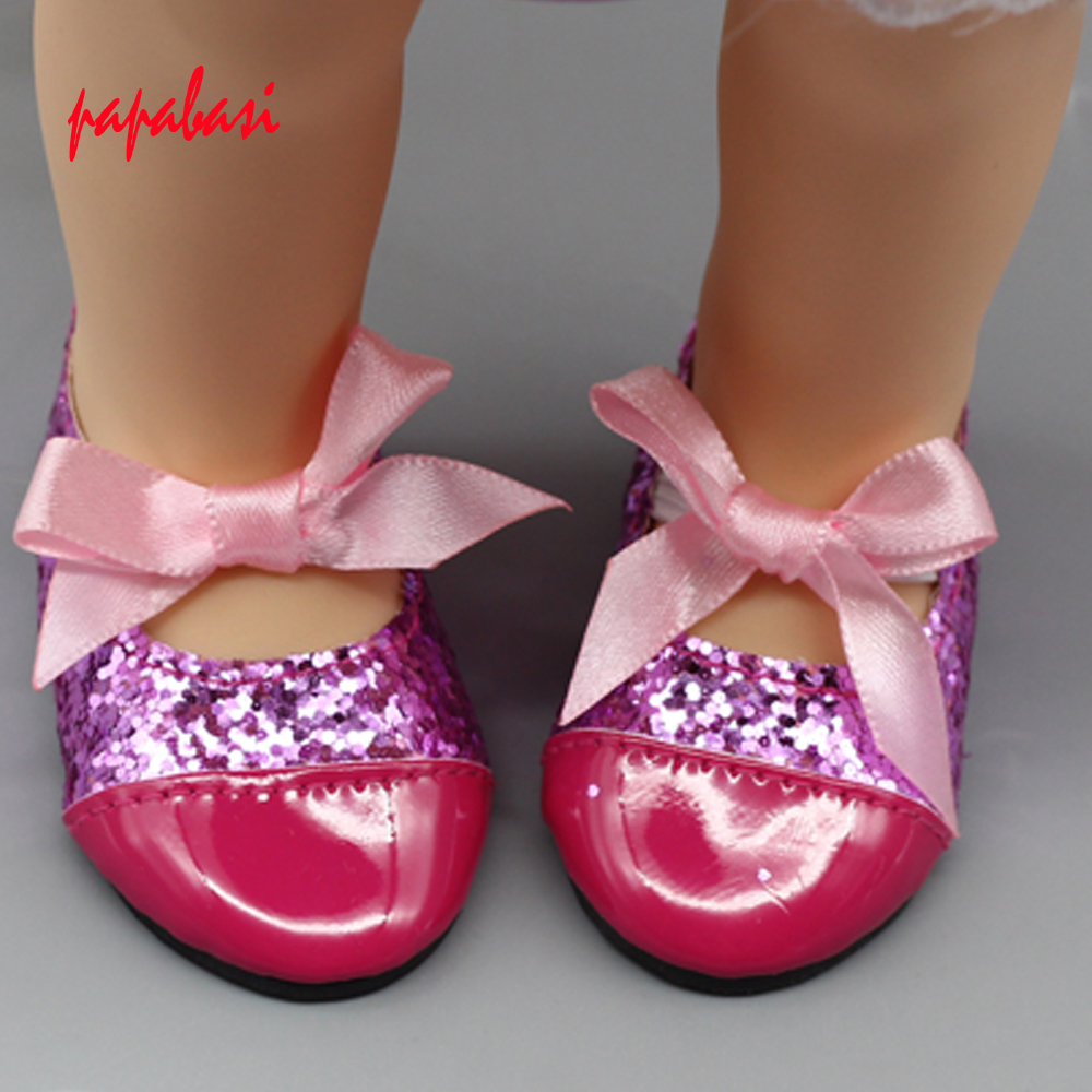 Doll shoes With Cute Bow For Wear fit 43cm Baby Born zapf as for Salon Doll, Children best Birthday Gift