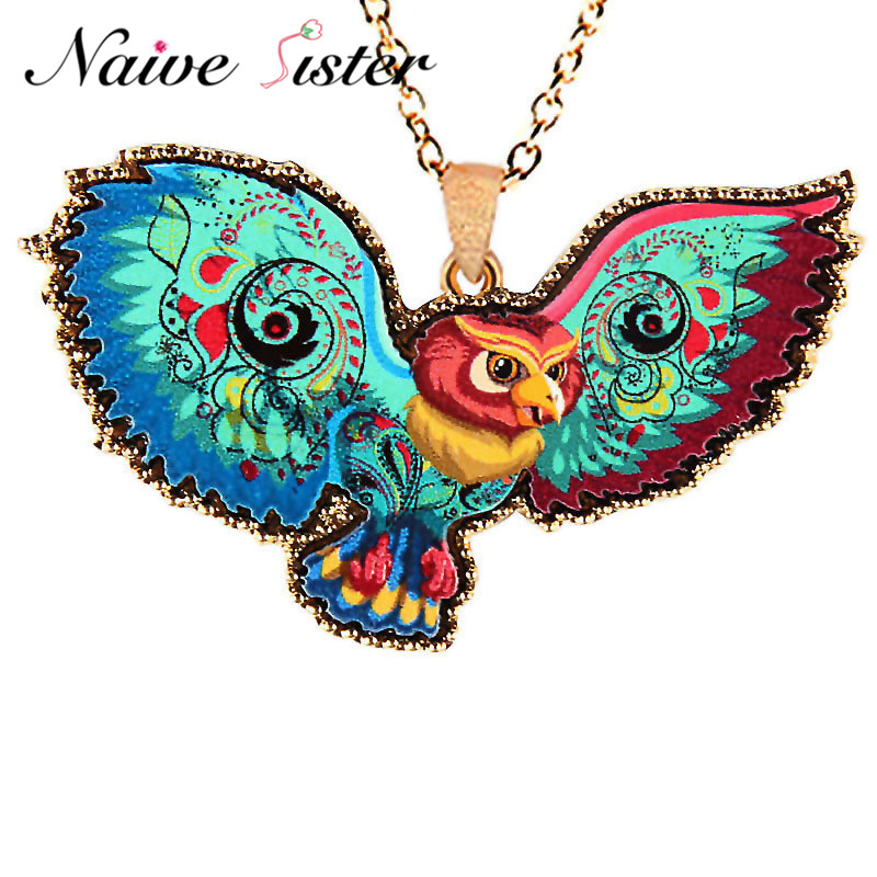 Fashion Colorful Eagle Pendant Necklaces For Women Long Sweater Statement Necklace Girl Christmas Gift Jewelry Chain sautoir