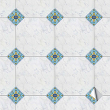 100pcs Vintage Italy Tiles PVC Waterproof Wallpaper Kitchen Bathroom Marble Ground Griotte Floor Diy Removable Tile Wall Sticker
