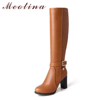Meotina Knee High Boots Winter Thick Heel Boots Women Buckle Fur Warm Long Boots Fashion Female Tall Shoes High Heel Black 43