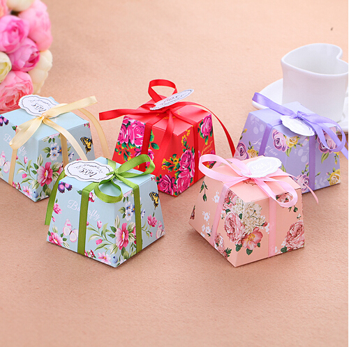 Wholesale 10Pcs Lot Korean Wedding Candy Chocolates Boxes Creative Paper Trapezoid Party Packaging Gift Box