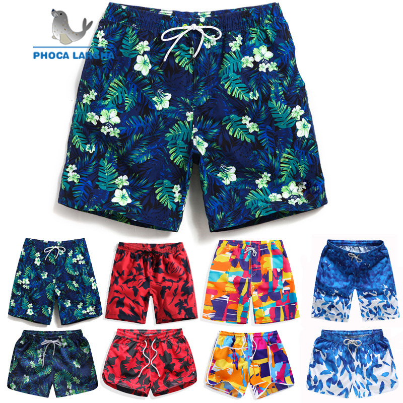 Beach Surf Board Shorts Men Summer Quick Dry Water Sports Shorts Elastic Waist Floral Plant Prited Swim Shorts Male Women