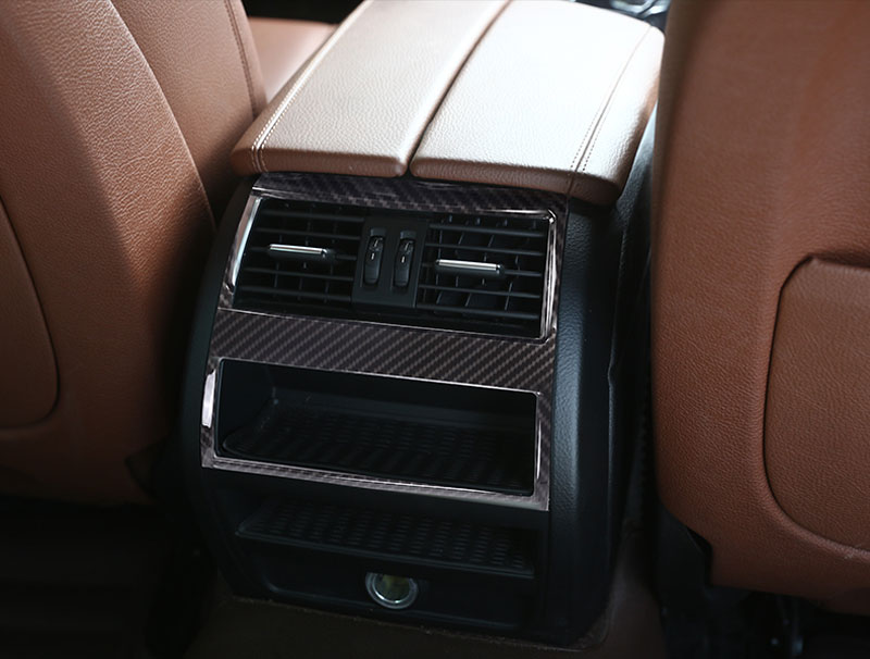 Углеродное волокно подкладке аксессуар abs пластмассовый задний ряд Кондиционер Выход отделкой Стикеры для BMW 5 серии f10 520 525 2011 2016