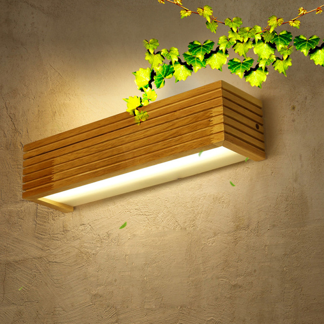 US $60.0 |Modern Japanese Style Led Lamp Oak wooden Wall Lamp Lights Sconce  for Bedroom Home Lighting,Wall Sconce solid wood wall light-in LED Indoor  ...