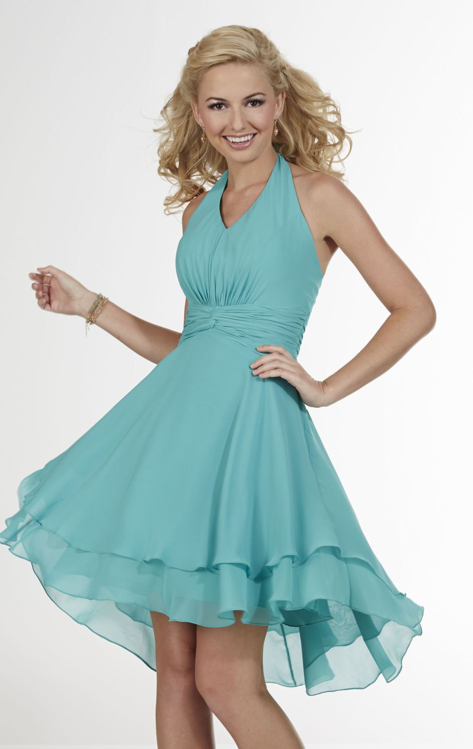 Latest design 2017 halter neck chiffon light blue short bridesmaid latest design 2017 halter neck chiffon light blue short bridesmaid dresses pleat wedding party gown dress vestido madrinha bd067 in bridesmaid dresses from ombrellifo Image collections