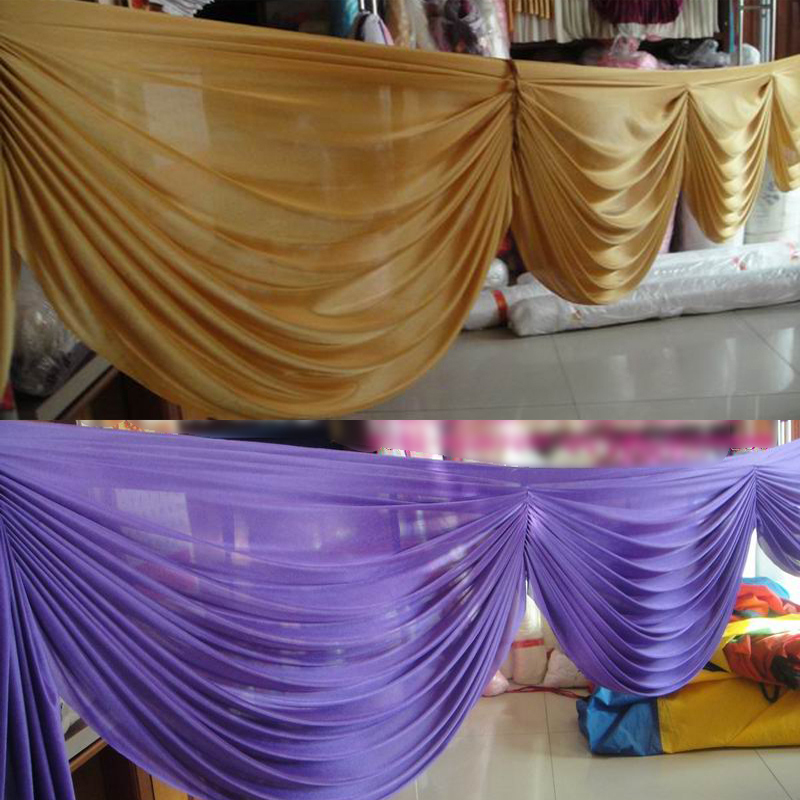 6 meter gold color detachable swags for decoration wedding backdrop curtain wedding drapery decoration