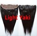 Venda quente! grosseiro Yaki luz italiano yaki em linha reta Do Laço Do Cabelo frontal 13*4 top peça Frontal Instock