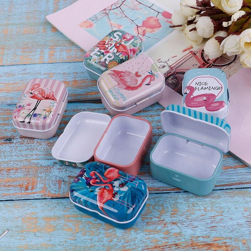 Portable Pill Box Case Mini Flamingo Metal Packing Tin Jar Boxes Small Medicine Case Cans Coin Headphones Nail Travel Pill Box